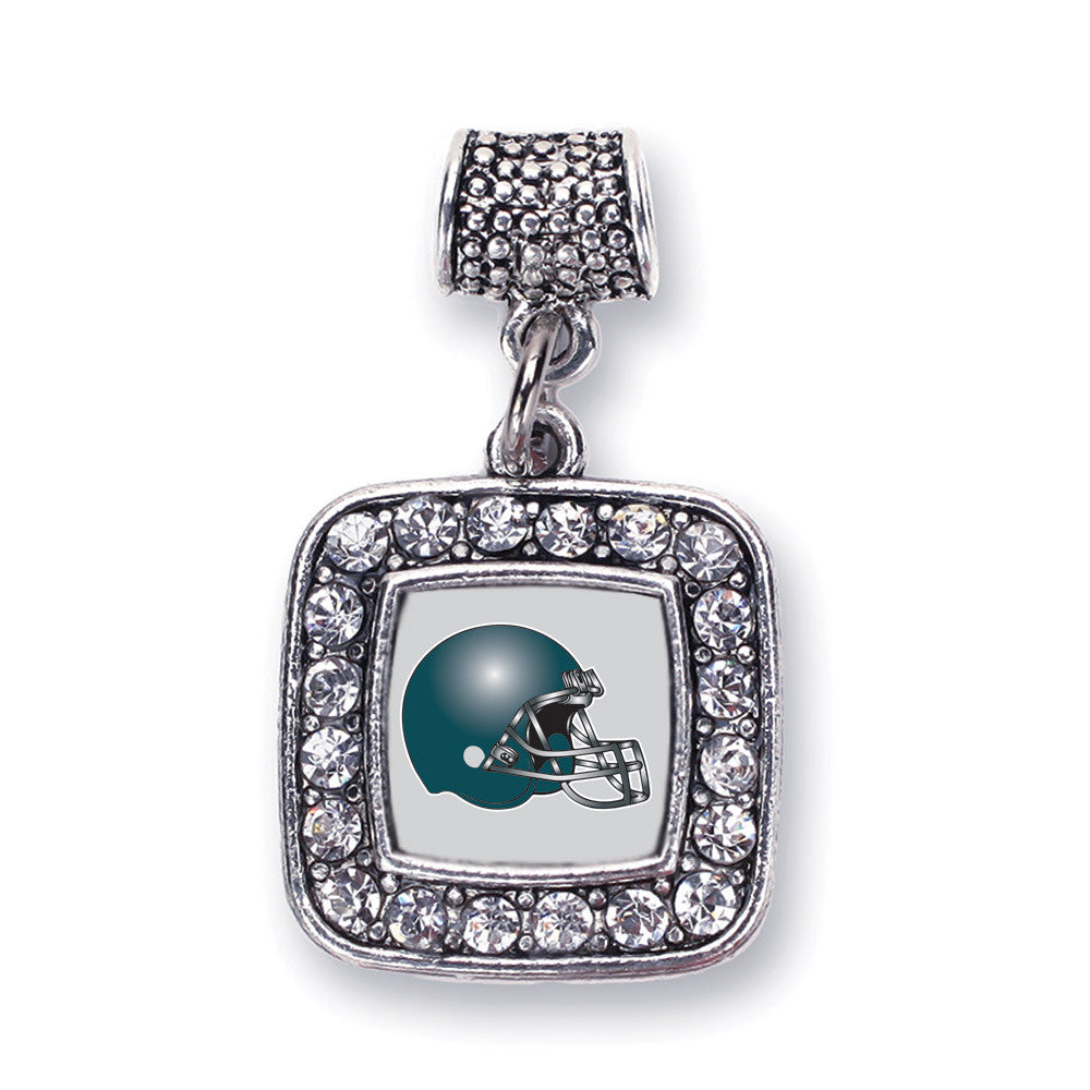 Grey and Turquoise Team Helmet Square Charm