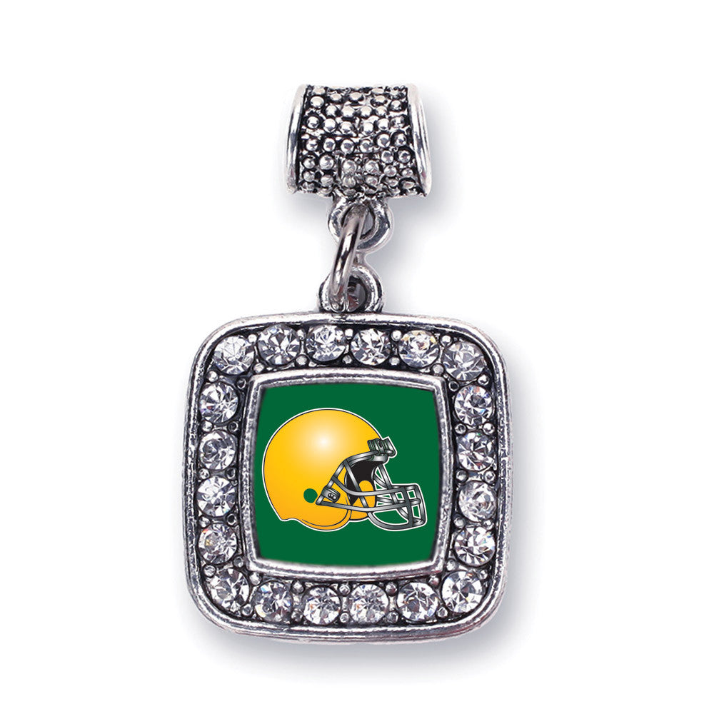 Green and Yellow Team Helmet Square Charm