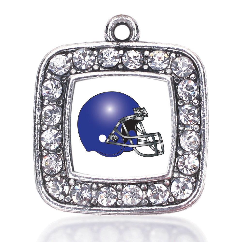 White and Blue Team Helmet Square Charm