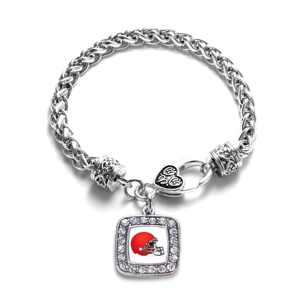 Red and White Team Helmet Square Charm