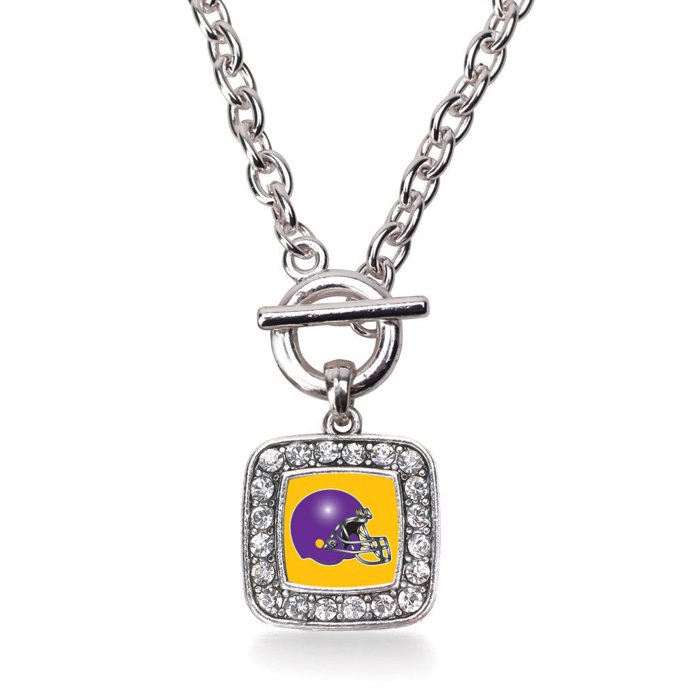 Yellow and Purple Team Helmet Square Charm