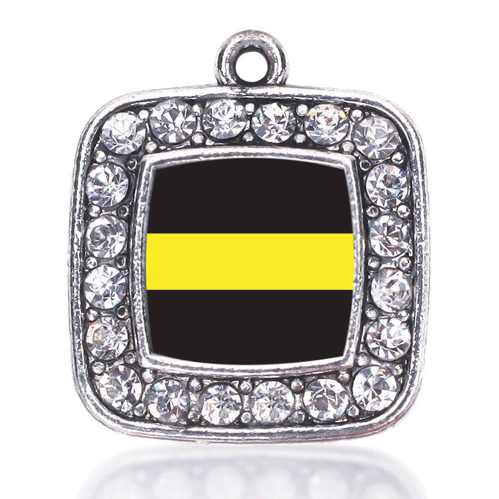 Thin Gold Line Dispatcher Support Square Charm