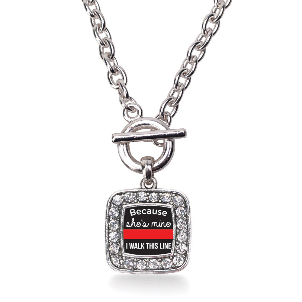 Because She's Mine Red Line Square Charm