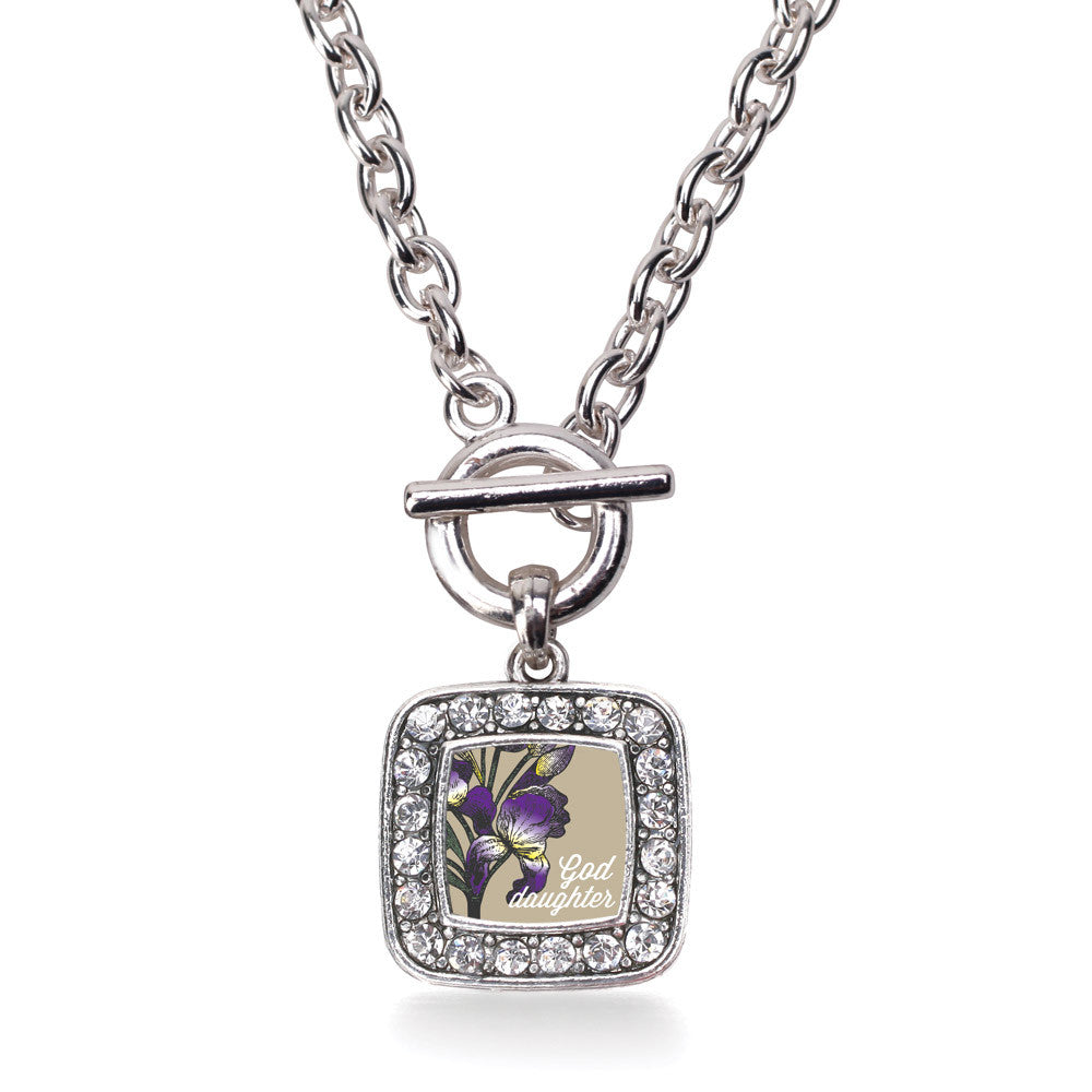 God Daughter Iris Flower Square Charm
