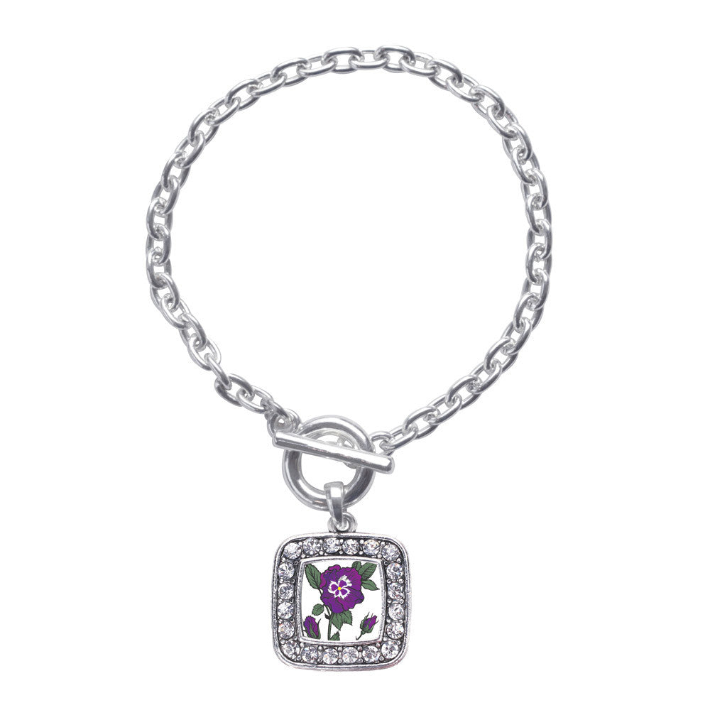 Pansy Flower Square Charm