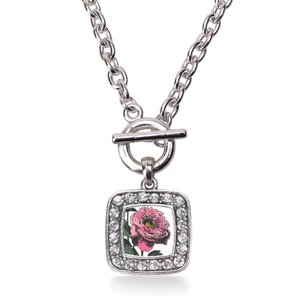Peony Flower Square Charm