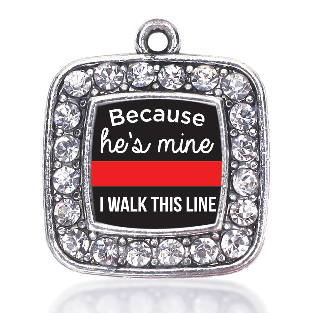 Because He's Mine Red Line Square Charm