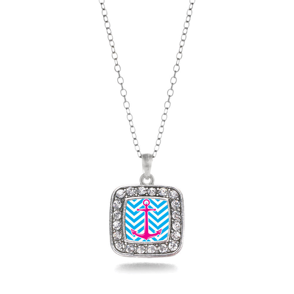 Blue Chevron Pink Anchor Square Charm