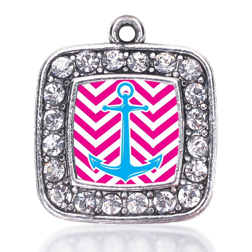 Pink Chevron Blue Anchor  Square Charm
