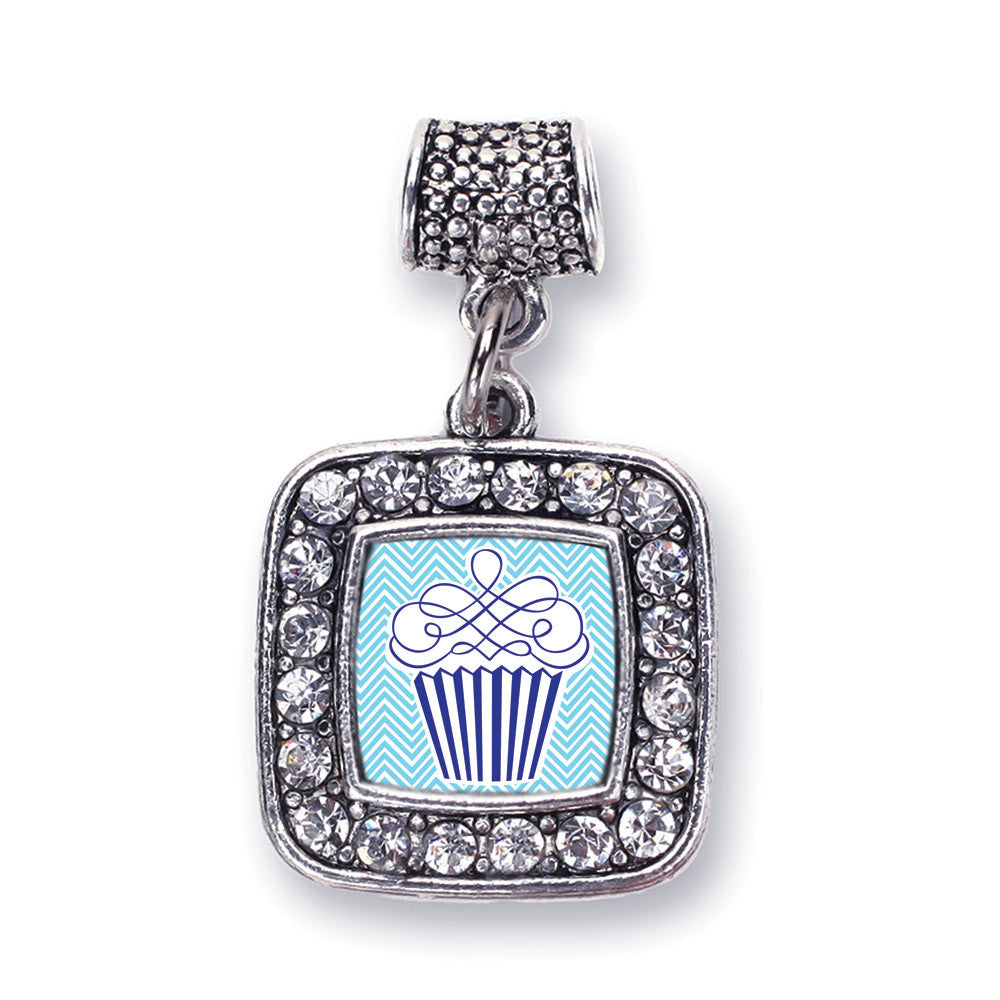 Blue Chevron Cupcake Square Charm