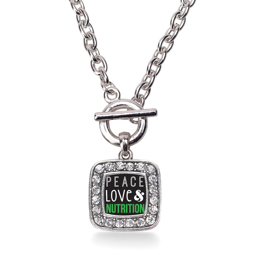 Peace, Love, and Nutrition Square Charm