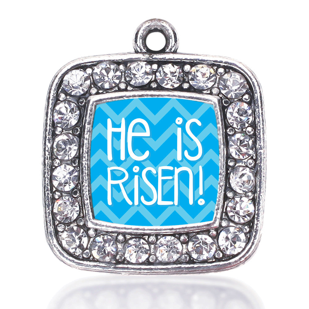 He is Risen Blue Chevron Patterned Square Charm