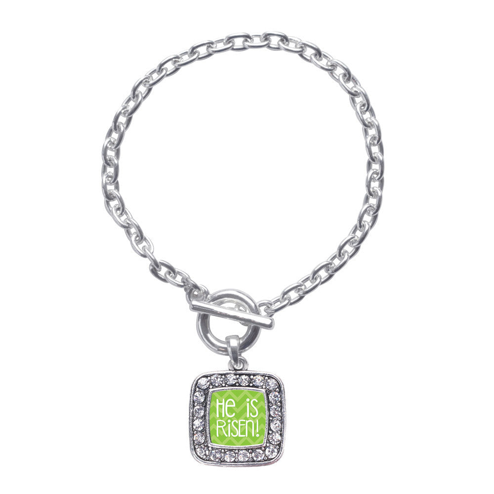 He is Risen Green Chevron Patterned Square Charm