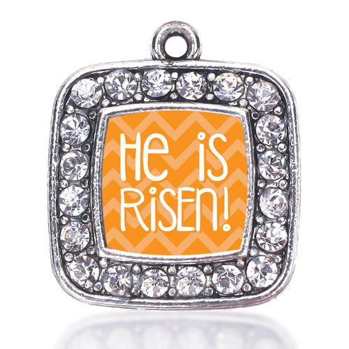 He is Risen Orange Chevron Patterned  Square Charm