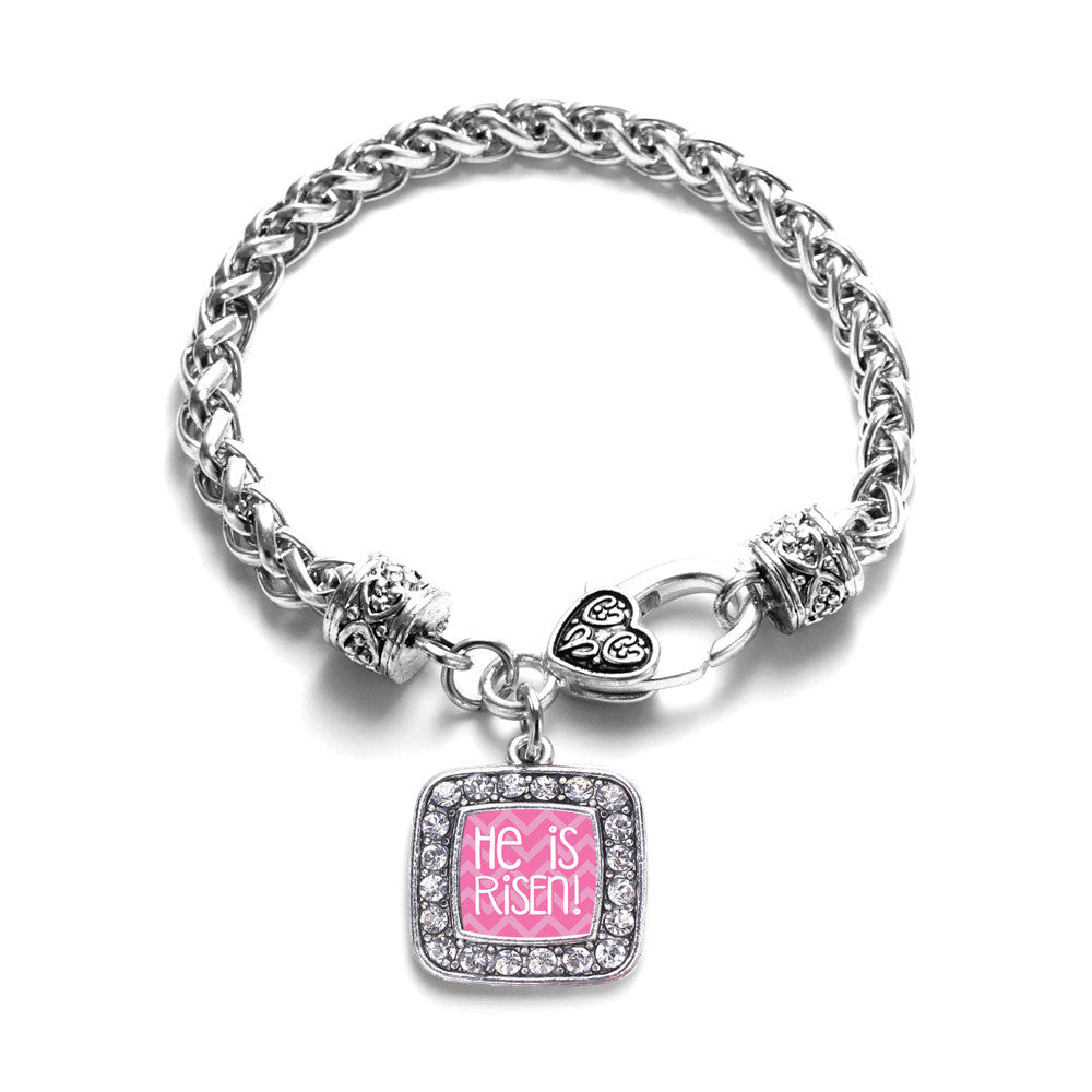 He is Risen Pink Chevron Patterned Square Charm