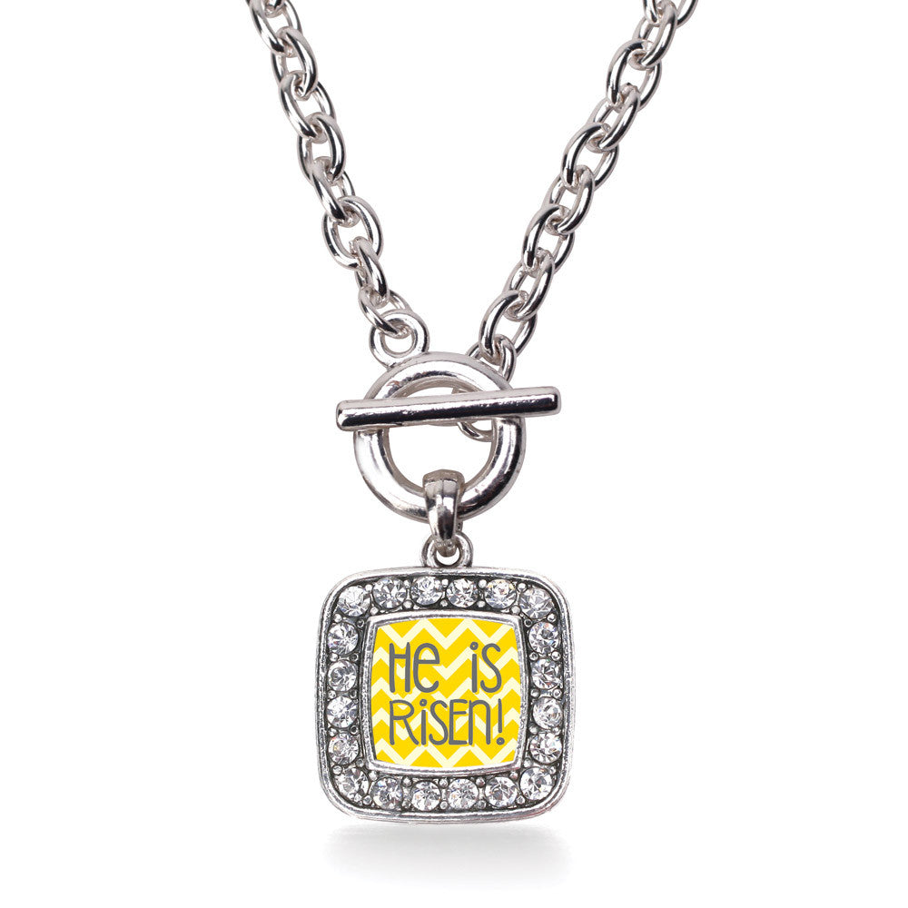 He is Risen Yellow Chevron Patterned Square Charm