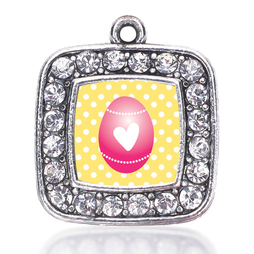 Pink Easter Egg  Square Charm