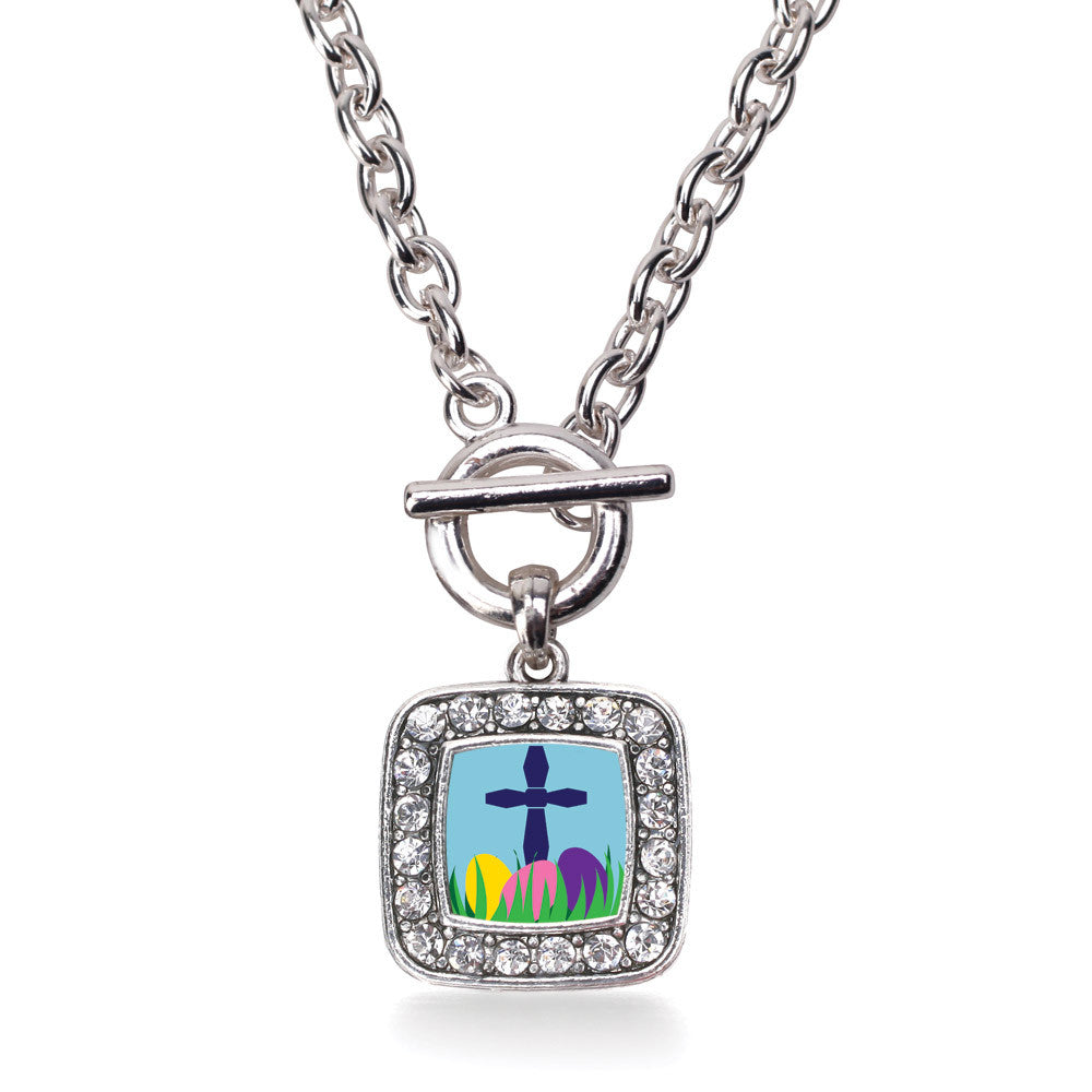 Easter Cross & Eggs Square Charm