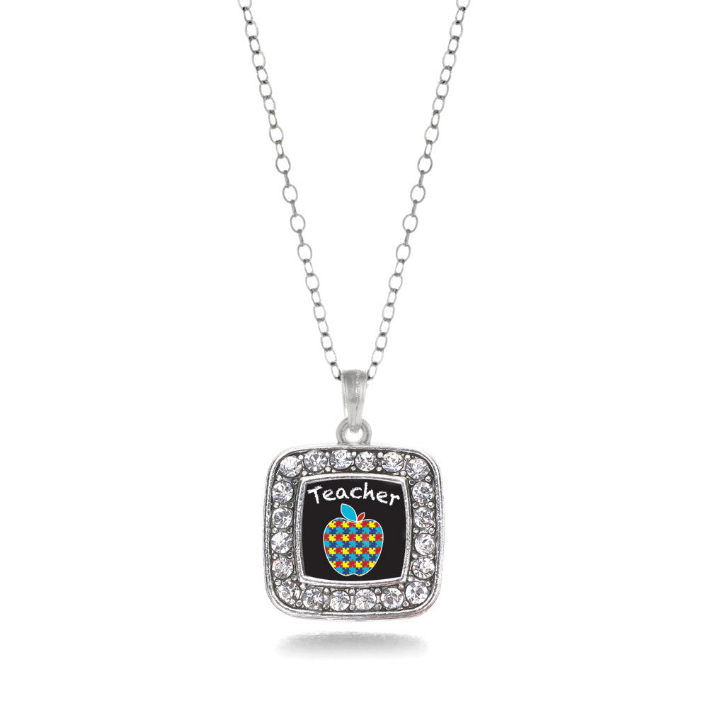 Autism Apple Square Charm