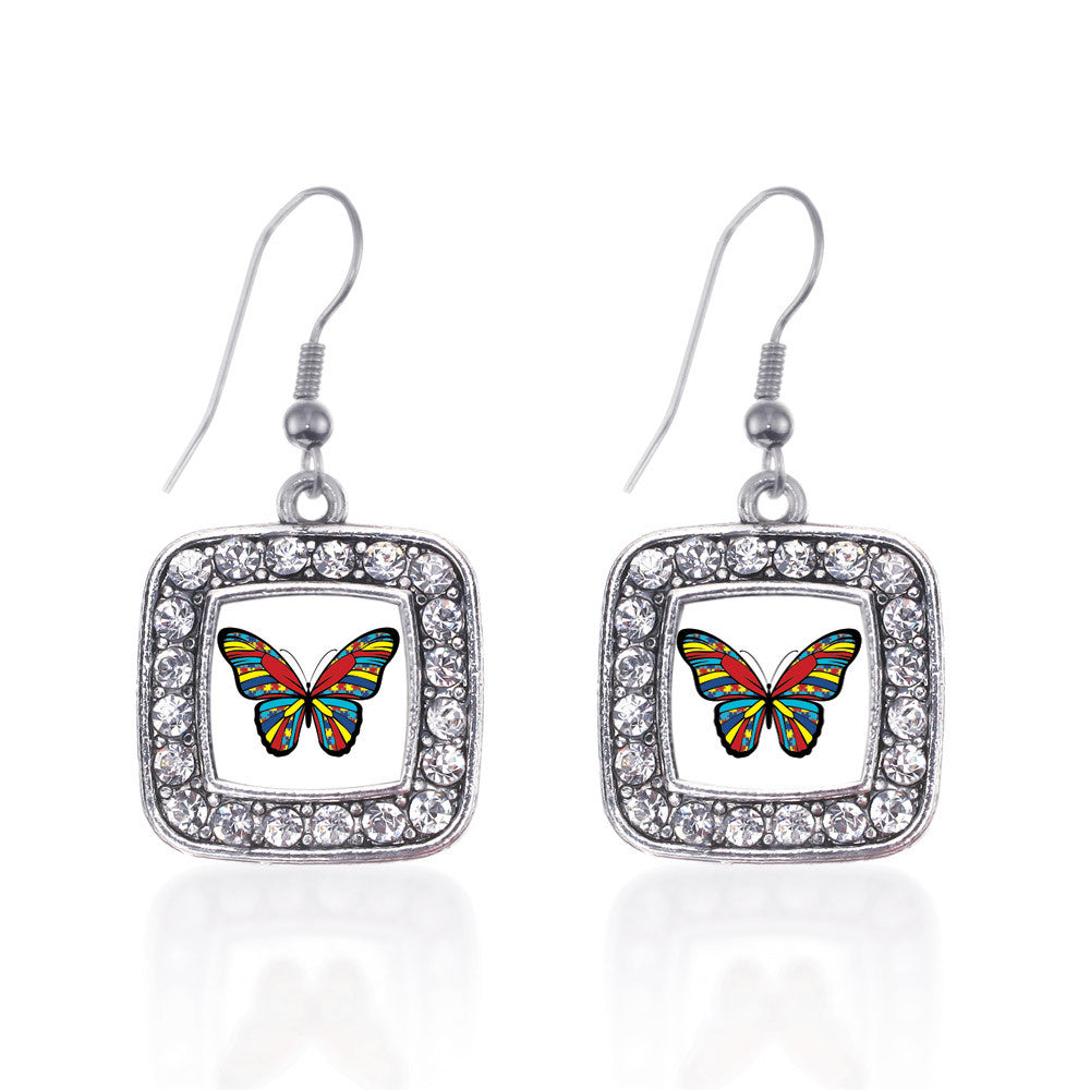 Autism Awareness Butterfly Square Charm