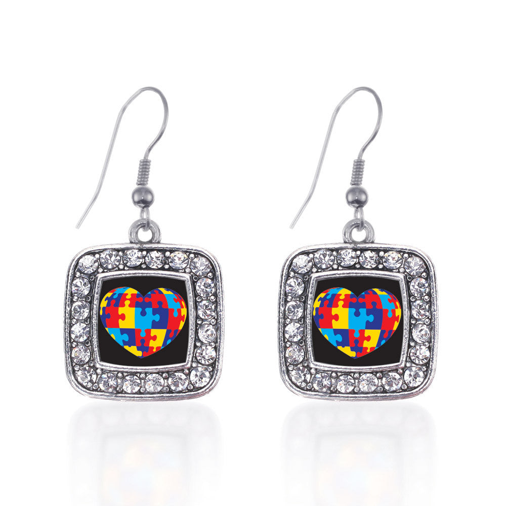 Autism Awareness Heart Square Charm