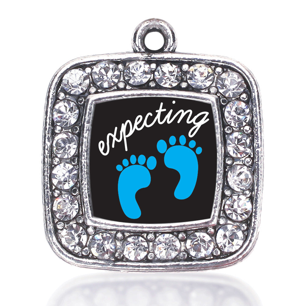 Expecting A Boy Footprints Square Charm
