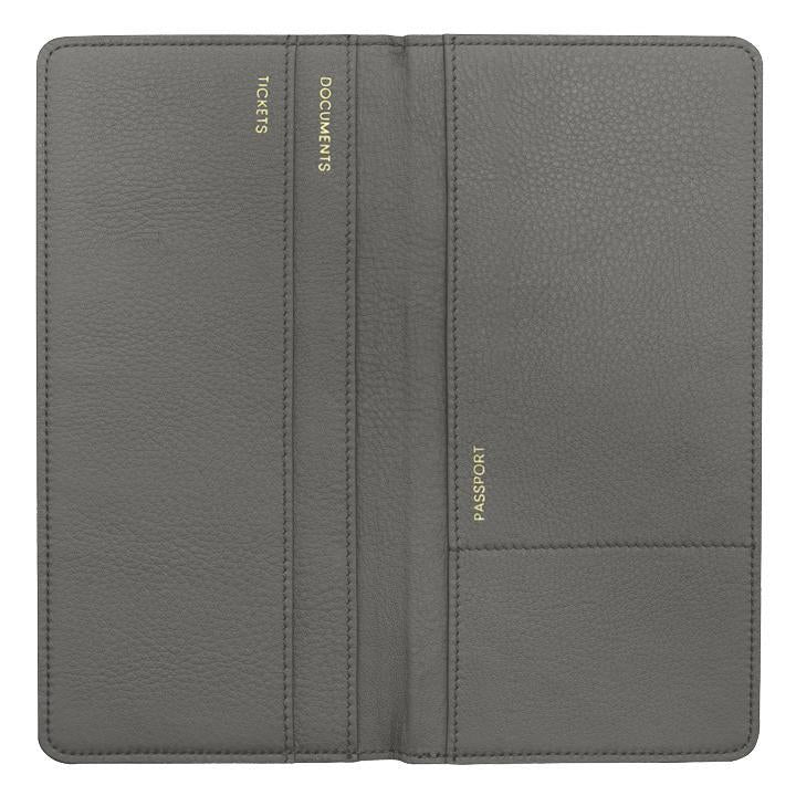 Grey Leather Travel Wallet