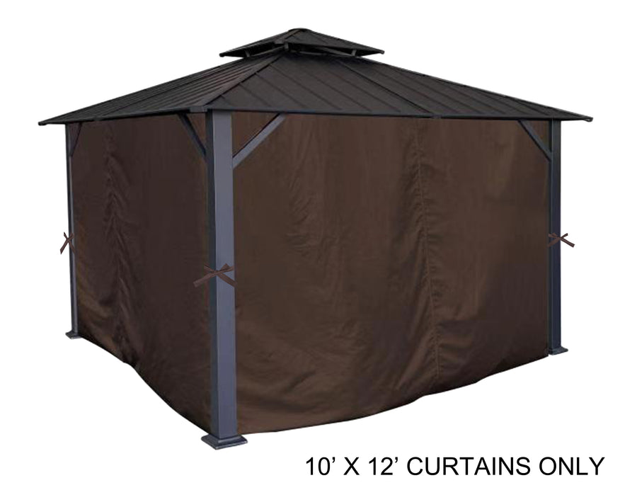 APEX GARDEN Universal Privacy Side Panels Curtain Set for 10' x 12' Gazebo - APEX GARDEN