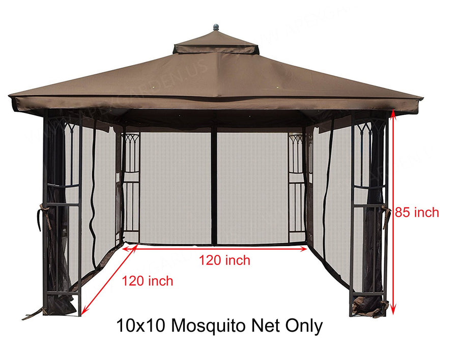 Replacement Mosquito Netting for 10'X10' Gazebo -- Brown - APEX GARDEN