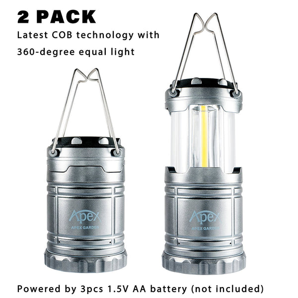 2 Pack Camping Lanterns Water Resistant Collapsible Lantern for Night Fishing, Hiking, Emergencies - APEX GARDEN