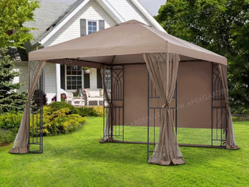 APEX GARDEN  YH-20S067B 10 ft. x 10 ft. Symphony II Gazebo with Mosquito Net, Privacy Screen and Planter Holders - APEX GARDEN