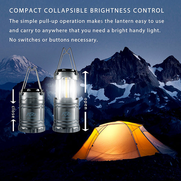 【ULTRA BRIGHT】Camping Lanterns Water Resistant Collapsible Lantern for Night Fishing, Hiking, Emergencies- 2 PACK - APEX GARDEN