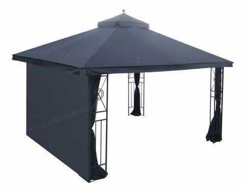 "10' Privacy Panel Curtain Wall for 10' or 12' Gazebo 119""W x 80""H--Black - APEX GARDEN"