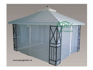 Replacement Mosquito Netting for 10'X12' Gazebo  -- Light Grey - APEX GARDEN