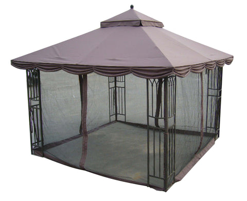 Replacement Mosquito Netting for 10'X12' Gazebo  -- Brown - APEX GARDEN