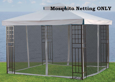 Replacement Mosquito Netting for 10'X10' Gazebo -- Beige with Velcro Loops - APEX GARDEN