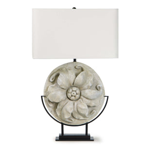 WHITE RESIN FLORAL TABLE LAMP - Donna's Home Furnishings in Houston