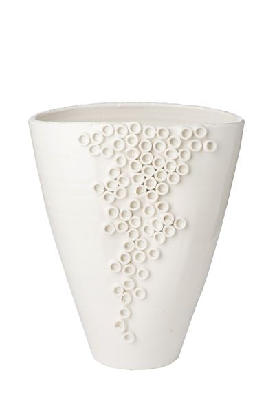 WHITE CERCH VASE - Donna's Home Furnishings in Houston