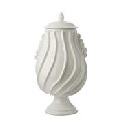 MATTE WHITE RIPPLE URN WITH LID - Donna's Home Furnishings in Houston
