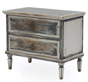 ZINC TOP TWO DRAWER CABINET - Donna's Home Furnishings in Houston