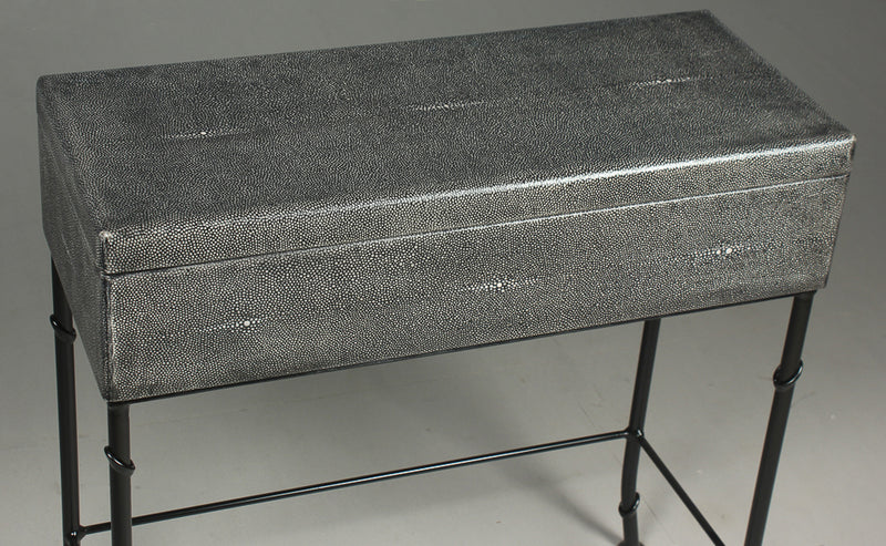 GREY LEATHER SHAGREEN BOX ON STAND - Donna's Home Furnishings in Houston