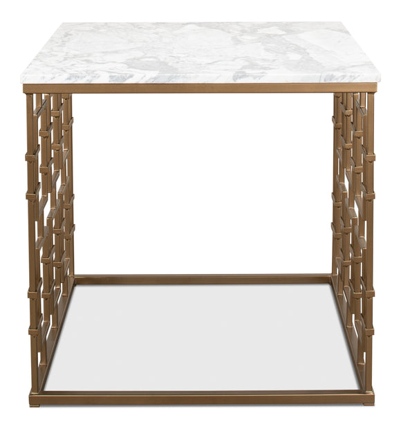 WHITE MARBLE TOP GATE OCCASIONAL TABLE