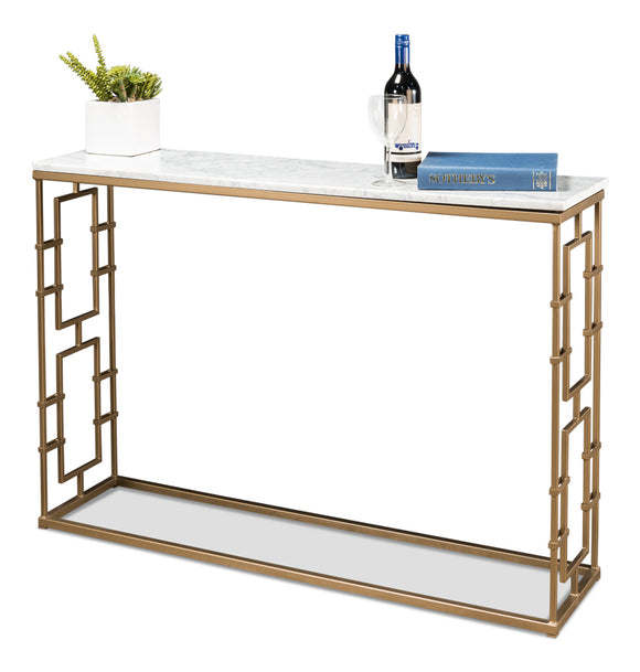 WHITE MARBLE TOP GATE CONSOLE