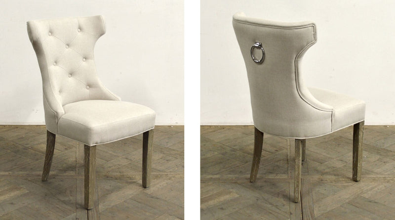 LINEN TUFTED SCOOP-BACK SIDE CHAIR - Donna's Home Furnishings in Houston