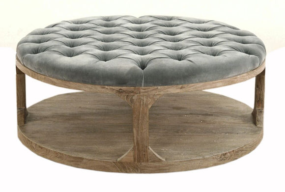 TUFTED VELVET OTTOMAN - Donna's Home Furnishings in Houston