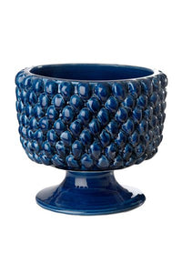 LG. BLUE SHINY PINECONE PLANTER - Donna's Home Furnishings in Houston