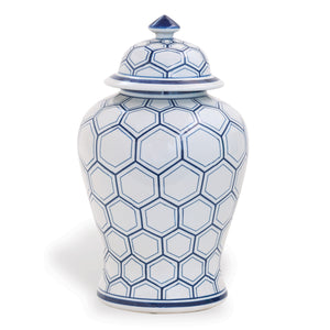 BLUE AND WHITE JAR WITH LID - Donna's Home Furnishings in Houston