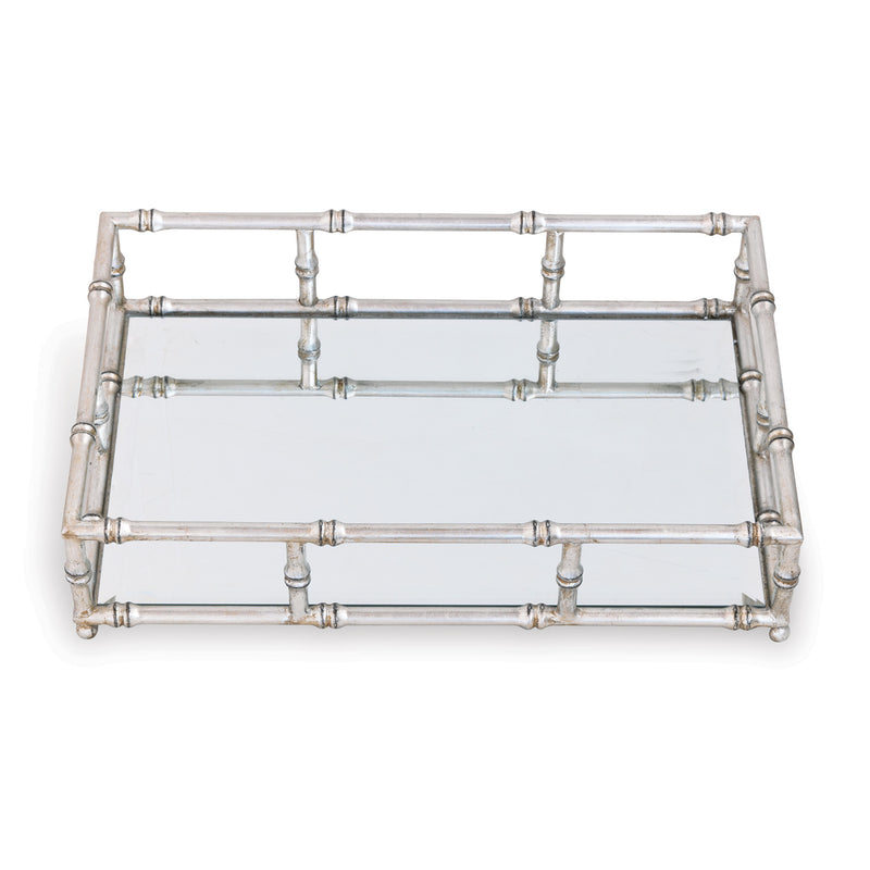 MIRRORED SILVER TRAY - Donna's Home Furnishings in Houston