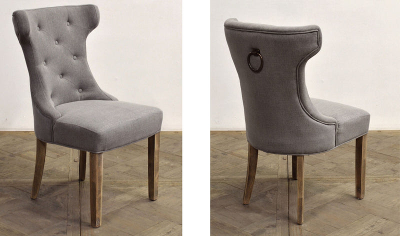 GRAY TUFTED SCOOP-BACK SIDE CHAIR - Donna's Home Furnishings in Houston