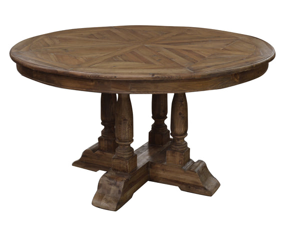 ROUND OLD PINE PARQUET TOP TABLE